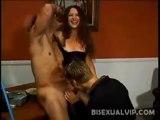 Porn Tube of Bisexual Pleasing Brunette
