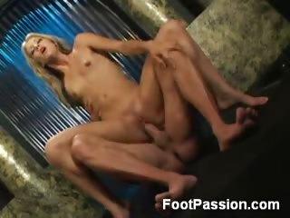 Porno Video of Petite Blonde Rides A Foot Worshiper