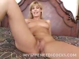 Porn Tube of Pretty Blonde Wife Diddling Her Clit