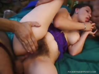 Porno Video of Woman Plays With A Dildo And Gets A Cock In Hairy Poon