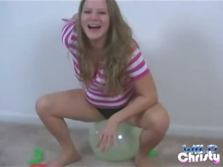 Porno Video of Naughty Chubby Teen Babe Christy Playing With Balloons On The Floor
