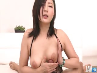 Porn Tube of Fishnet Clad Megumi Haruka  Rips Her Nets Apart To Finger Her Pretty Shaved Pussy Before Sucking A Hard Cock