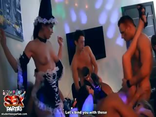 Porn Tube of Halloween Sex Party With Horny Students