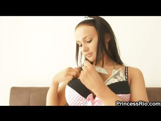 Porno Video of Even Princesses Feel The Need To Blow Off Some Steam And Show Their God Given Bodies To The World. Fortunately, We Just Happened To Find One Such Princess, Named Rio. Now This Raven Haired, Busty Beauty Really Does Give Us A Show. She Wears A Tiara And Th
