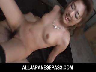 Porn Tube of Karin Tsubaki  Lovely Asian Model Rides A Huge Dick