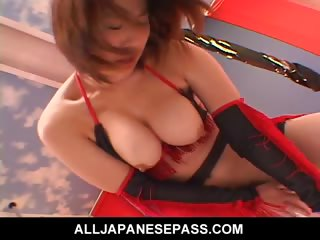 Porn Tube of Japanese Fantasy Cougar In A Cowgirl Suit Toys Her Pussy