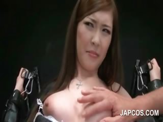 Porno Video of Asian Sex Slave In Fishnets Cunt Teased In 3some
