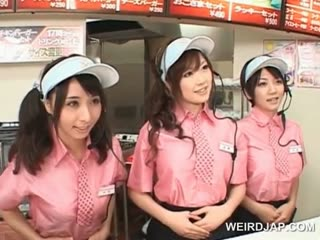 Porn Tube of Asian Busty Teen Trio Flashing Tits At The Fast Food