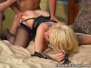 Porn Tube of Busty Blonde Bisexual Fucking