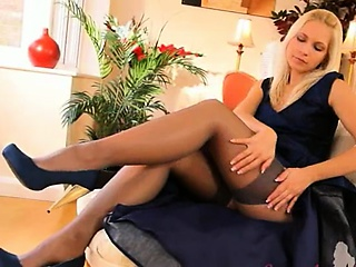 Porn Tube of Blue Shoes And Sexy Skirt And Stocking