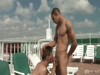 Porn Tube of After Searching In Vain For Someone To Fuck In The Hotel Courtyard, Jaeden Took To The Pool, Where Roberto Generously Allowed Jaeden To Suck His Cock And Take It In The Ass. (roberto Is A Gentleman Like That)