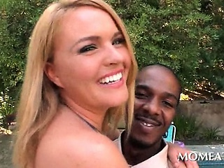 Porn Tube of Horny Housewife Flashing Assets Seduces A Black Dude