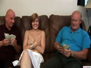 Porn Tube of After A Trip Visiting Grandma, Hailey Ran Into Our Two Wrinkled Wolves On The Prowl For Some Fresh Meat. But In Order To Peek Under This Red Ridings' Hood, They'll Have To Drop Some Serious Cash. Watch As She Finds Out What Big Dicks They Have, In This No
