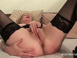 Porn Tube of Blonde Mature In Hot Ass Masturbating Pussy With Fingers