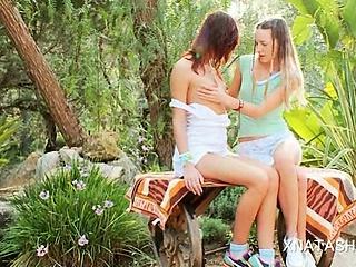 Porno Video of Sweet Ivana Playing With Natasha Shys Tiny Boobs Outdoor