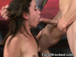 Porno Video of Brunette Slut Brutal Face Fucking