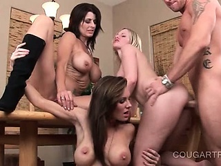Porno Video of Three Cougars Get Fucked And Mouth Cummed In 4some