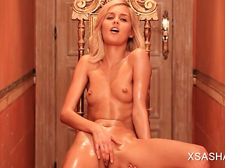 Porno Video of Russian Temptress Sasha Masturbating Naked On A Chair