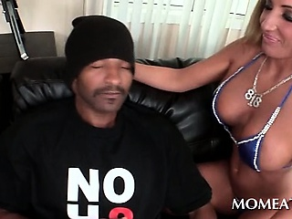 Porno Video of Nympho In Bikini Flashing Huge Tits Seduces Black Horny Guy