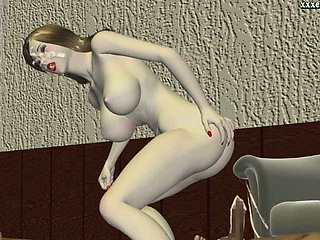 Porno Video of Animated Hooker Drinks Hot Sperm