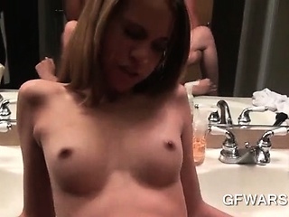 Porn Tube of Slim Blonde Ex-girlfriend Pounded Hard On Bathroom Sink