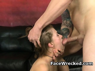 Porno Video of Rough Looking Brunette Slut Face Fucked Very Hard