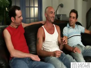Porno Video of Who Would Have Thought An Innocent Interview Would Turn Into A Game Of  If You Show Me Yours, I'll Show You Mine.  Spencer Can Hardly Contain Himself At The Sight Of Two Huge Cocks, And Soon He's Taking Them From Both Ends, Begging For Their Hot Cum.