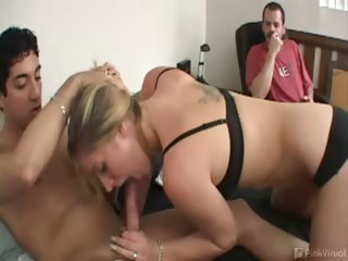 Porn Tube of This Loser Husband Was In For It - He Broke Our Televsion. Never Mess With A Man's Television, Or Man's Wife. But Since He Broke The First Rule, We Decided To Break The Second And Fuck His Hot Wife While He Watched! Payback's A Bitch, And Then You're Fuck